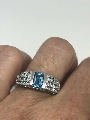 Genuine London Blue Topaz Vintage 925 Sterling Silver Size 7 Deco Ring