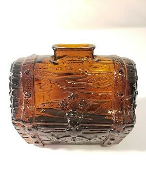 Vintage Anchor Hocking Treasure Chest Coin Bank Amber Glass Pirates Hoard, Nice!