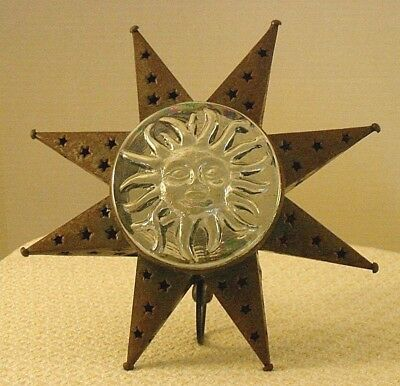 Primitive Country Rusty Tin Star Candleholder w/ Molded Glass Medallion