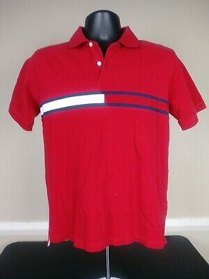 f65e90ae3 Vintage Tommy Hilfiger Boys Kids Flag Polo Shirt Size Large Red Short  Sleeve 90s