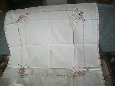 "VTG HAND EMBROIDERED WHITE TABLE TOPPER w/FLORAL~COTTON~ SQUARE 34""X34"""