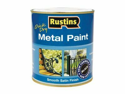 Rustins - Quick Dry Metal Paint Smooth Satin Black 500 ml