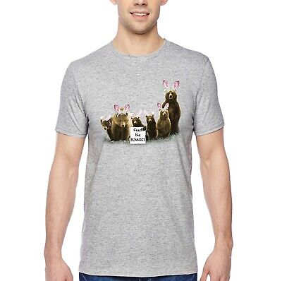 bacc203e Men's Feed the Bunnies Bears Funny Easter Bunny Holiday Spring Crewneck T- Shirt