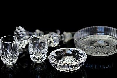 LOT Waterford Crystal Ashtray Coaster Wine Stopper Shot Glasses Lismore Colleen