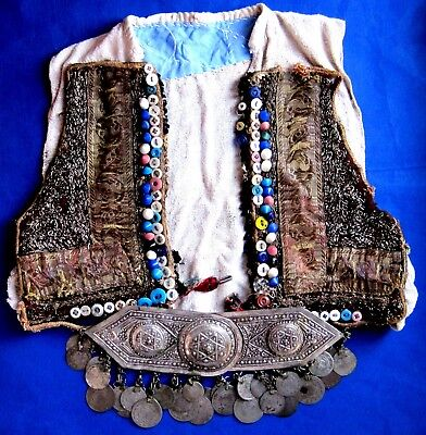 Vintage Medieval  Vest   /  19C Ottoman  Periods ,   Coins & Buckle   Silver