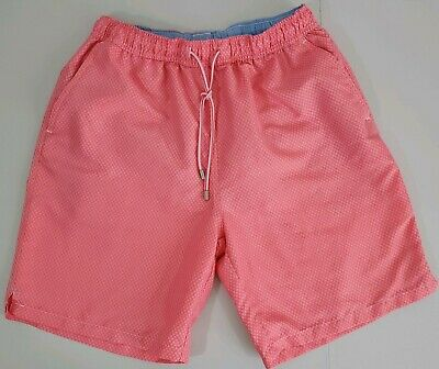 b8a5fec8c2 NWOT Men's Peter Millar Seaside Pink Diamond Drawstring Mesh Swim Trunks  Medium