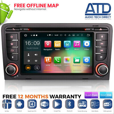 "7 "" Android 9.0 DAB DVD Navigatore Satellitare GPS Wifi Bluetooth Radio per Audi"