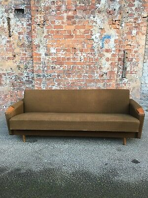 1970's RETRO VINTAGE DANISH 3-SEATER SETTEE WITH TEAK ARMS - VINTAGE SOFA BED