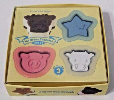 WILLIAMS & SONOMA ICE CREAM SANDWICH MOLDS star cow pig w/ RECIPES & BOX