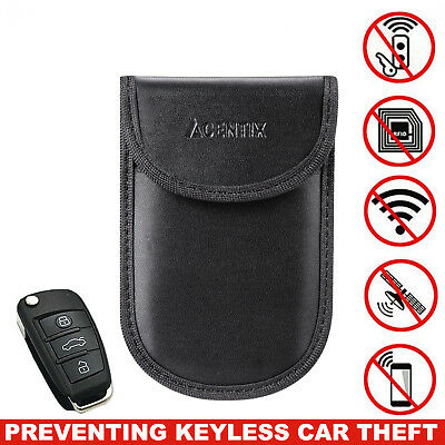 Car Key Keyless Entry Fob Signal Guard Blocker Protector Faraday Bag Pouch Blk