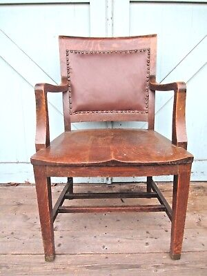 OAK ARM CHAIR  banker - lawyer attorney office Leather ? Back DELIVERY AVAILABLE