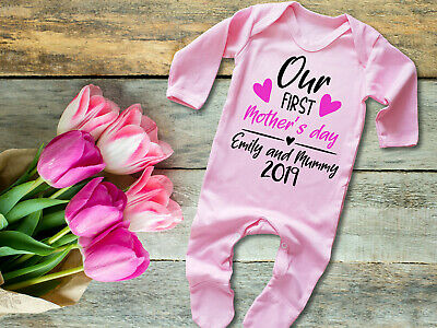 Custom Our first Mother's day pink long rompersuit baby grow bodysuit mothers