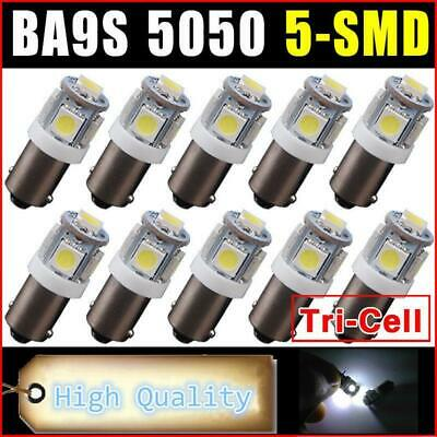 10x BA9S Bayonet 12V Car LED 5050 5SMD WHITE Dash Interior Light Bulb Dome Lamp