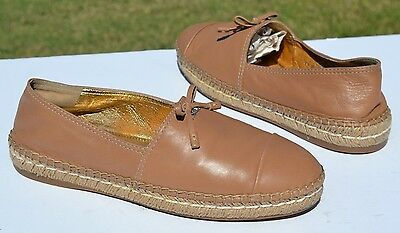 c68fbcdd5 PRADA CAP TOE Tan Leather Espadrille Flats Size 37 / 7 - $199.99 ...