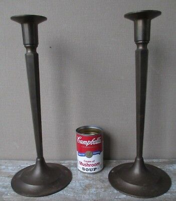 VINTAGE Pair of Arts & Crafts Unsigned Brass Candlesticks - TALL -  13-3/4""