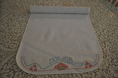 Vintage  Hand Embroidered Doily  Linen Keeper Pink Aster Roll Up Doily/Runners