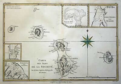 1780 Society Island French Polynesia Australia Cook map Kupferstich engraving