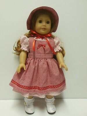 """American Girl 18"""" Doll Dress-White & Red, Red Gingham Pinafore & Bonnet-Kayesew"""