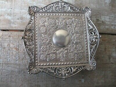 Antique Silverplate CALLING CARD TRAY James W Tufts PIERCED footed Victorian