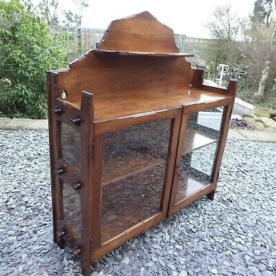 Genuine Antique Arts & Crafts Solid Walnut Wall Hung Glazed Cabinet Great Patina