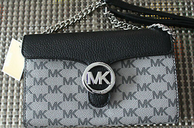 a2a4967bde9a 198$ MICHAEL KORS Signature Leather and Logo Chain Wallet Crossbody ...