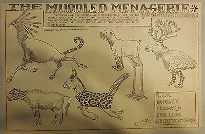 The Muddled Menagerie by Crane from from 1905 Half Page Size!