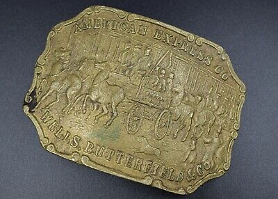 Vintage Mens Belt Buckle: AMERICAN EXPRESS Co. Wells Butterfield ~ Great Cond ~