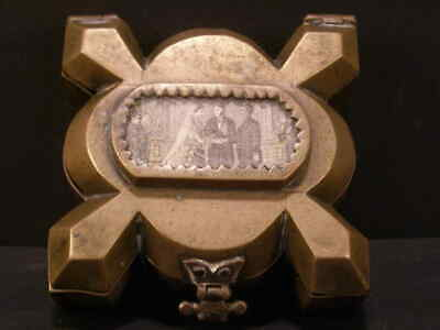 1900 Arts &Crafts Abstract Bronze Continental Souvenir Patch Jewelry Trinket Box