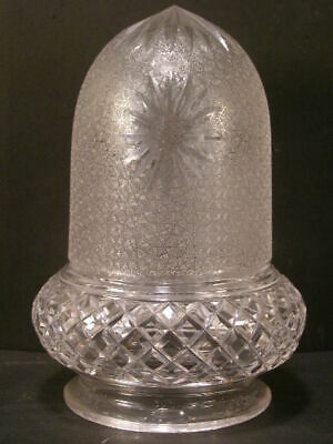 Antique Victorian Acorn Cut Cameo Etched Crystal Glass Hanging Sconce Lamp Shade