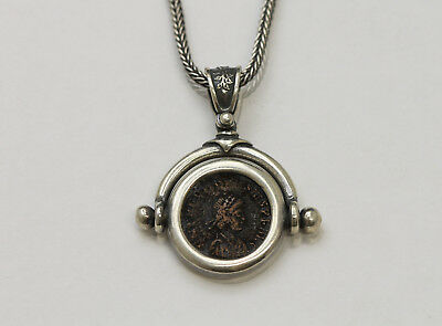 Sterling Silver Necklace with Genuine Ancient Coin, Roman Bronze. w/Cert - 036