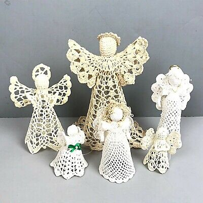 Vtg Crochet Starched Angel Ornaments Lot Of 6 White Ivory Ornaments