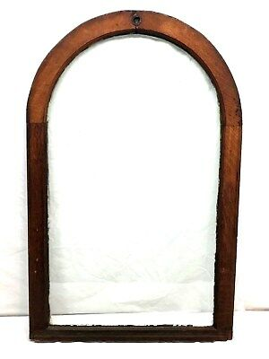 Antique Arched Window Sash - Interior OAK FRAME w/ ORIG. ANTIQUE GLASS - gothic