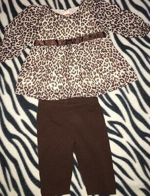 Baby Girls Size 0-3 Months Two Piece Outfit Set Leopard Print Brown Top Shirt Pa