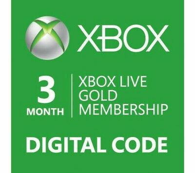Xbox Live 3 Month Gold Membership Card Xbox 360 / Xbox One