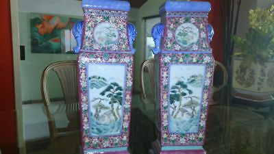 GORGEOUS 19th CENTURY ANTIQUE PAIR OF CHINESE PORCELAIN VASES W/WOOD STAND.13''H