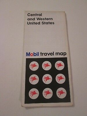 Vintage 1970 Mobil Central &  Western United States Oil Gas Travel Road Map
