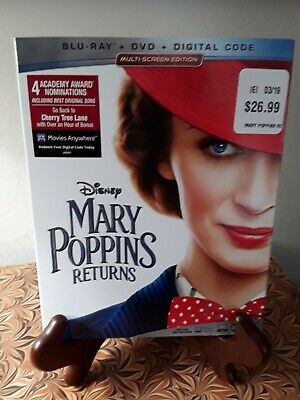 Mary Poppins Returns(Blu-Ray+Dvd+Digital)W/slipcover New Factory Sealed