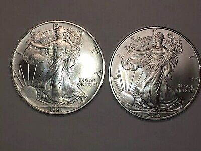 1991 And 2009 American Silver Eagles- 2 Troy Ounces