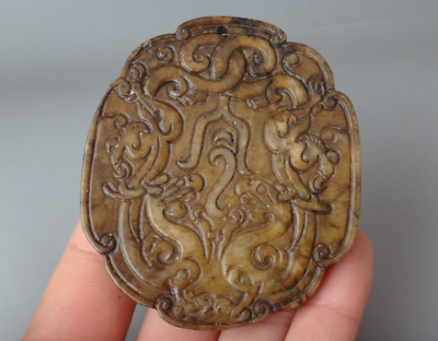 Chinese Nephrite Jade Hand Carved dragon statue Pendant #94