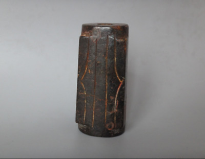 Antique China Hongshan Culture Meteorite Jade HandCarved Cong & Zong Statue #102