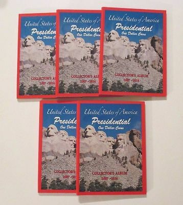 NEW 5 US PRESIDENTIAL Dollar Coin Collector Holder Albums~2007-2016