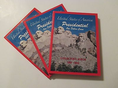 NEW 3 US PRESIDENTIAL Dollar Coin Collector Holder Albums~2007-2016