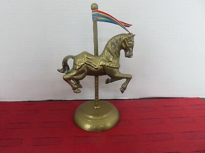 Stunning Heavy Vintage Large Brass Carousel Horse Statue Figurine  3/31