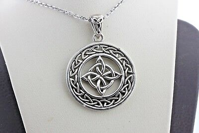 Vintage Sterling Silver Round Bordered Irish Celtic Knot Design Charm Pendant