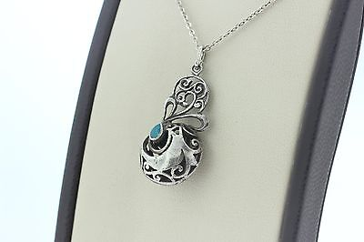 Vintage Artisan Sterling Silver 925 Filigree Scroll Turquoise Inlay Pendant