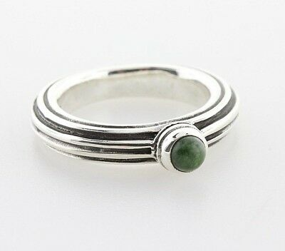 Vintage 'SS Shield' Ireland Connemara Marble Stone Sterling Silver Ring - Size 6