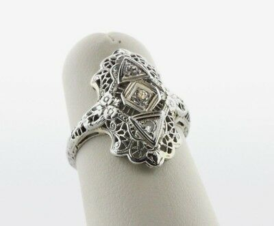 Art Deco 18K White Gold Antique 0.10 TCW Diamond Ladies Engagement Ring Sz 5.25