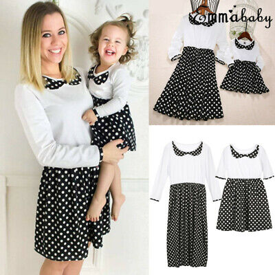 UK Hot Family Dress Mother Daughter Matching Clothes Dresses Outfits Cotton Soft