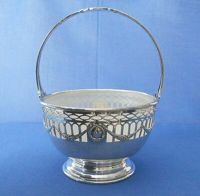 ANTIQUE STERLING SILVER BOWL BASKET_BLACK, STARR & FROST_with Frosted Glass Bowl