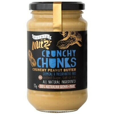 Purely Nutz Natural Crunchy Peanut Butter Chunks 375g